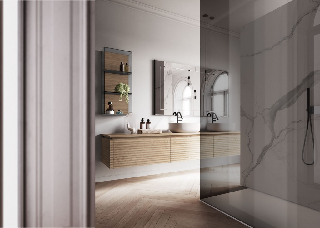 Modern bathroom with floating wood vanity, two circular wash basins and large mirror