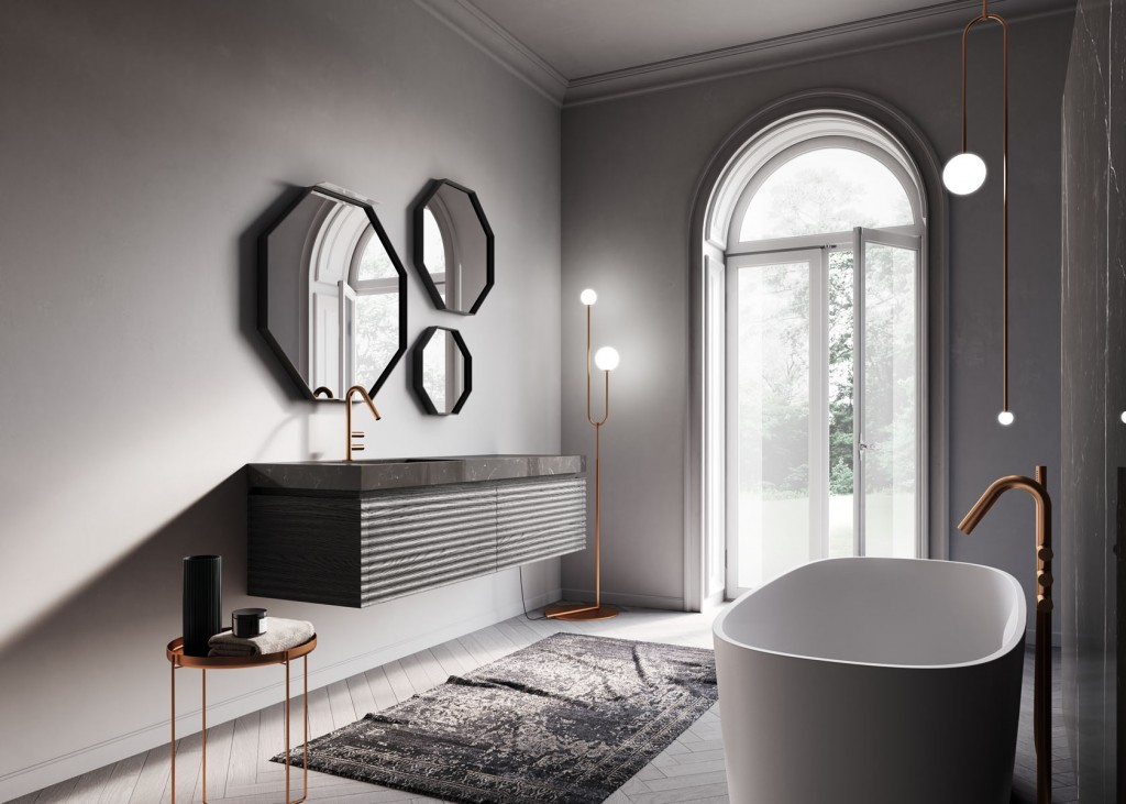 Modern bathroom with floating vanity, three mirrors, and rounded tub