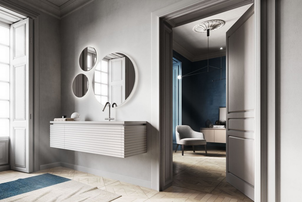 modern bathroom with floating vanity and three circular mirrors