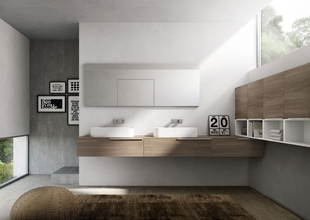 Modern bathroom design with wood vanity and drawers