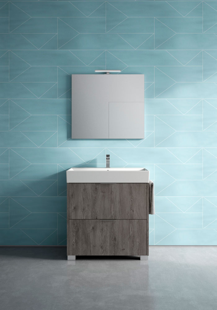small standing bathroom vanity and mirror
