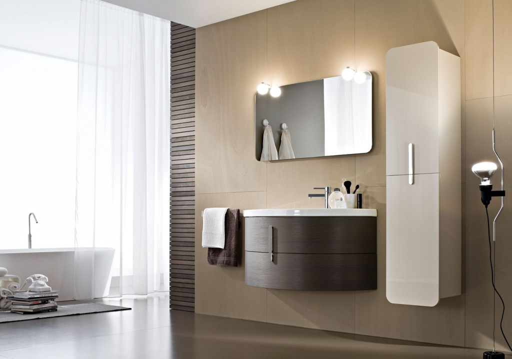 Modern bathroom with floating curved wood vanity and hanging cabinets