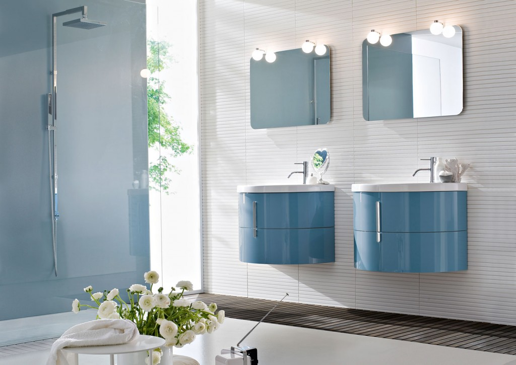 modern bathroom with double curved sinks in blue
