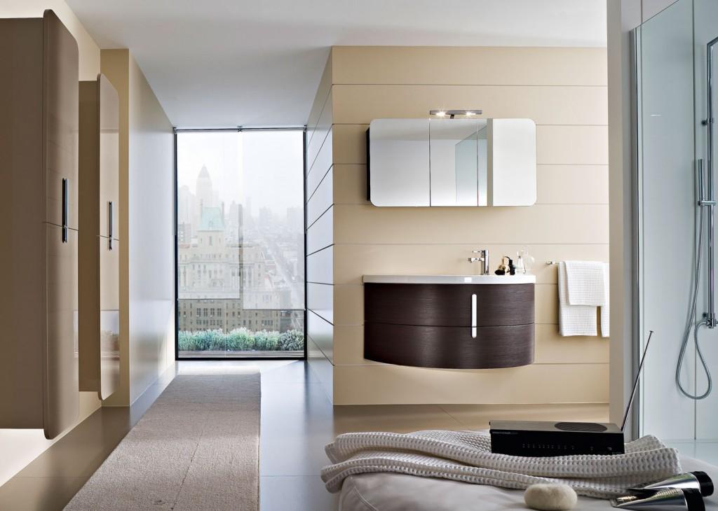 Curved floating bathroom vanity in dark wood color