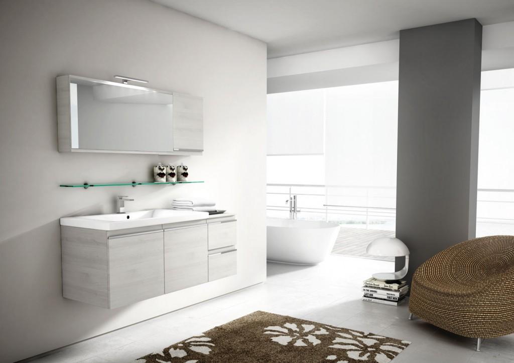 modern bathroom furniture, floating vanity, mirror and brown chair