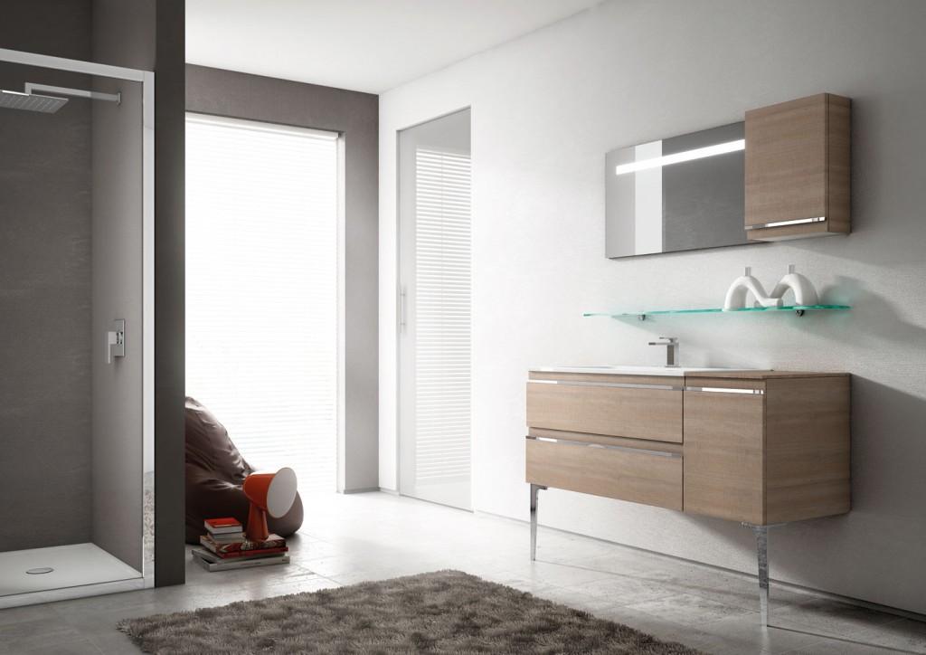 modern standing bathroom vanity with storage and mirror
