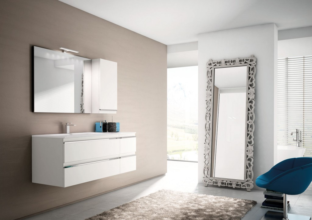 floating white bathroom vanity with standing mirror and hanging mirror