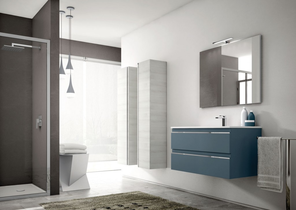 floating bathroom vanity in blue with hanging white storage units
