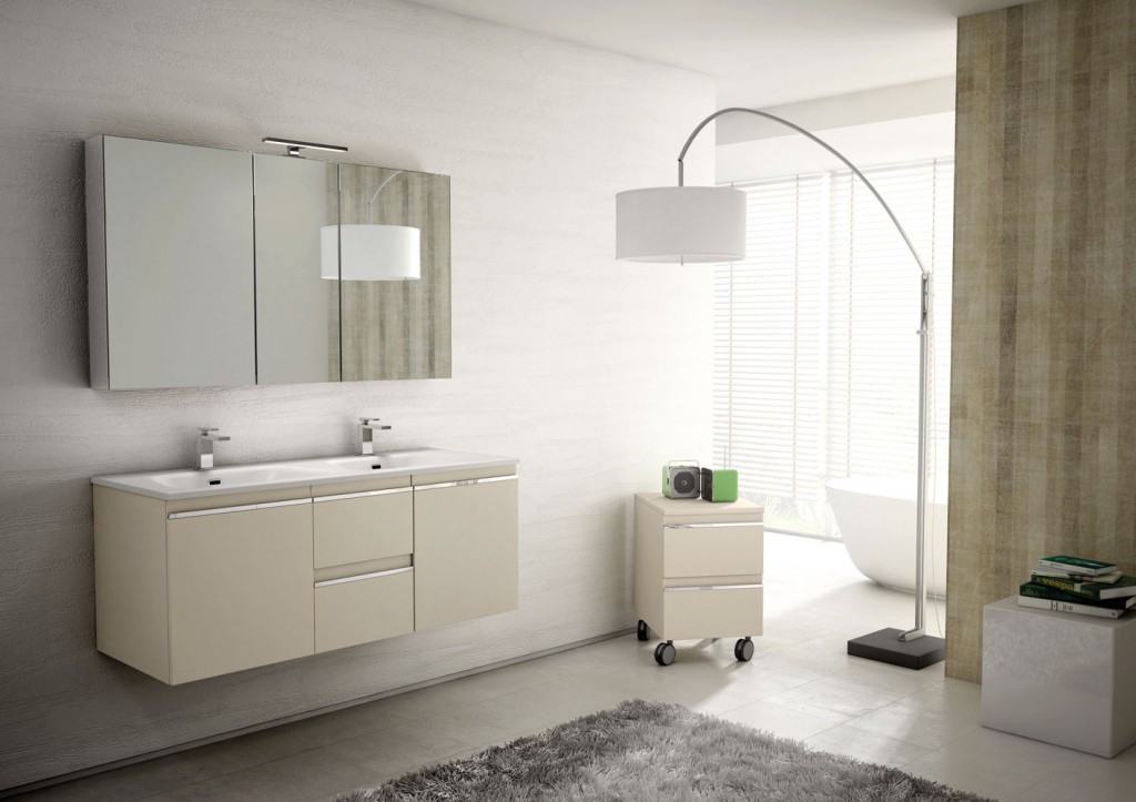 modern floating vanity with modern lamp and hanging mirror