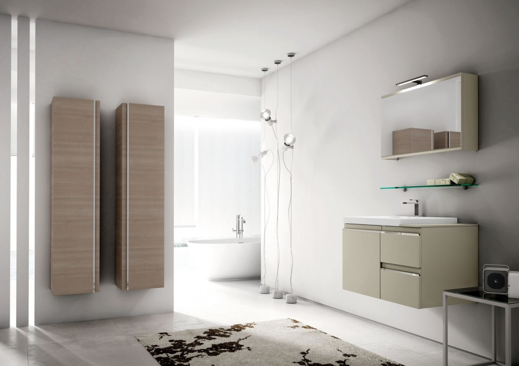 modern bathroom furniture with unique floating vanity and storage
