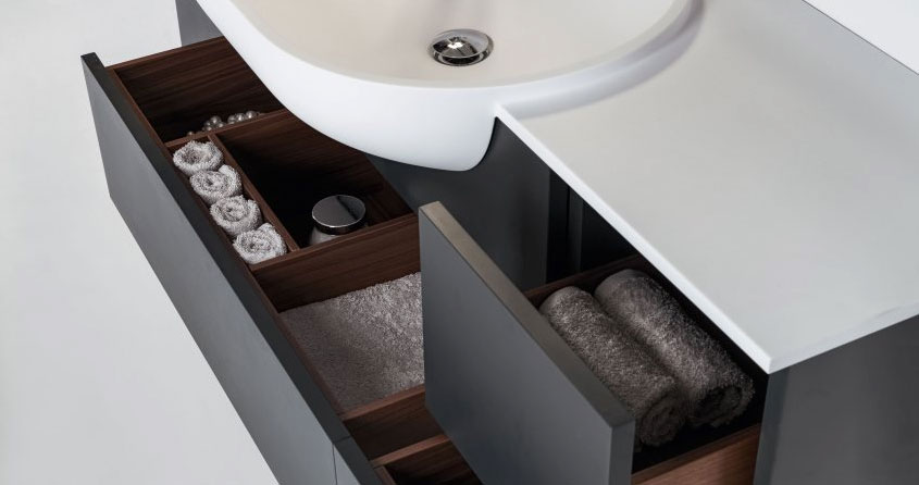 modern bathroom vanity with integrated sink and deep drawers