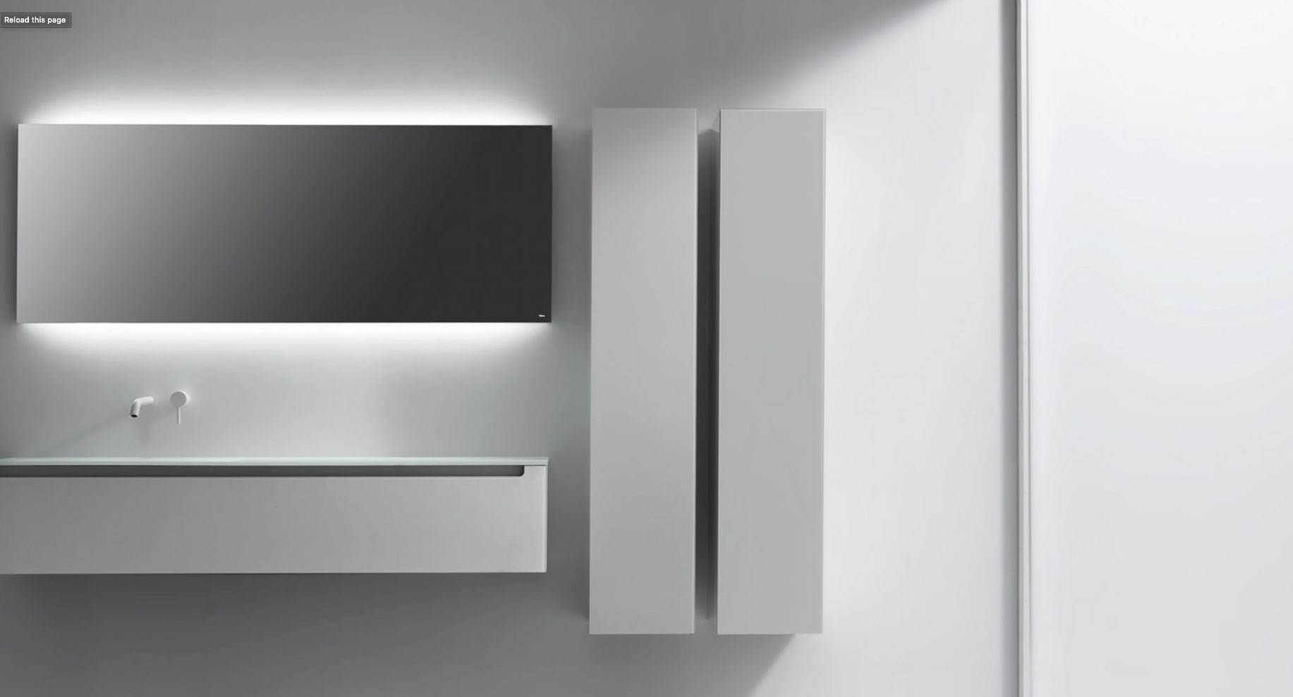 sophisticated bathroom vanity, storage and mirror in white