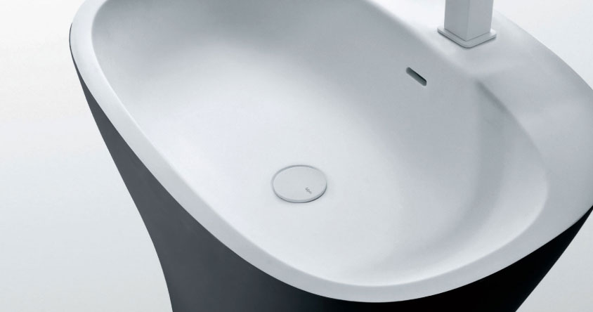 stand-alone modern bathroom sink from above