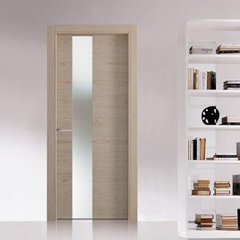 sliding interior door in wood tone