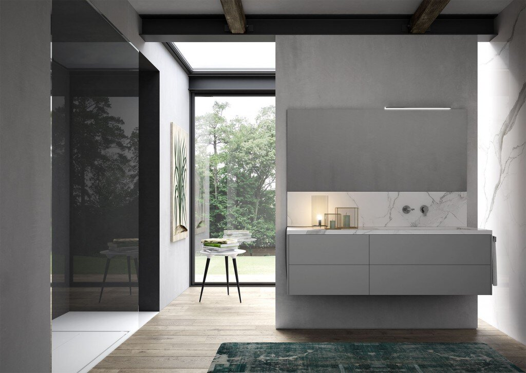 modern bathroom with floating vanity and nature