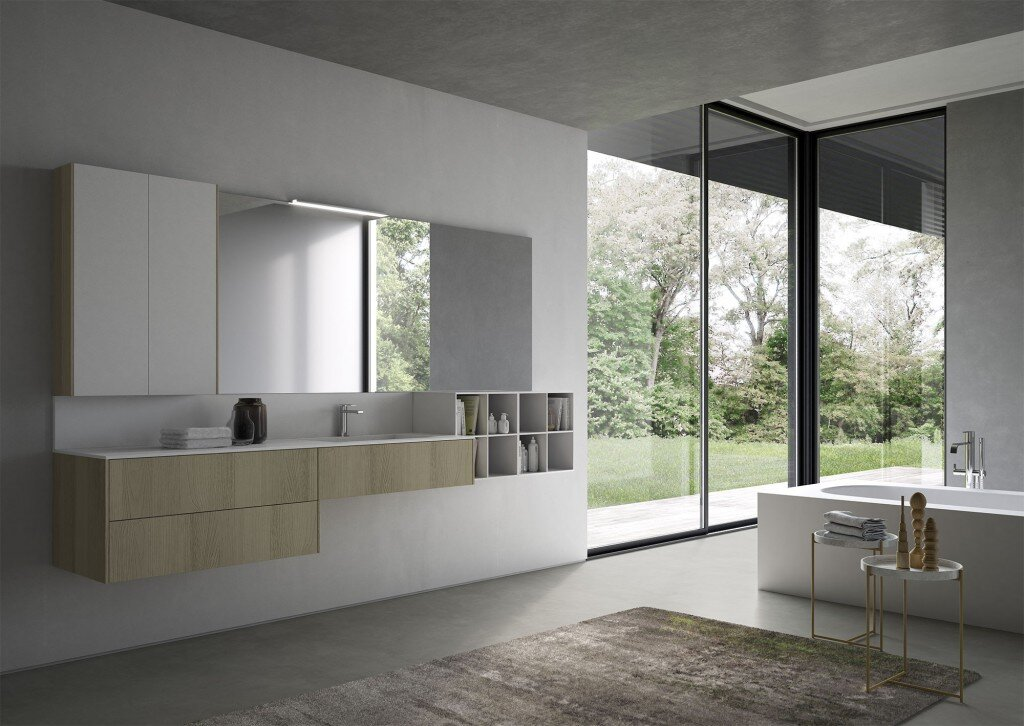 Wooden bathroom vanity and large mirror with storage