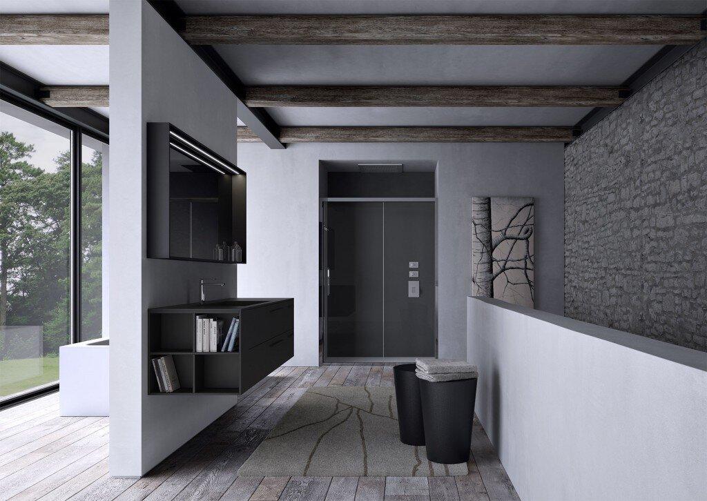 Elegant modern bathroom furniture with vanity and mirror