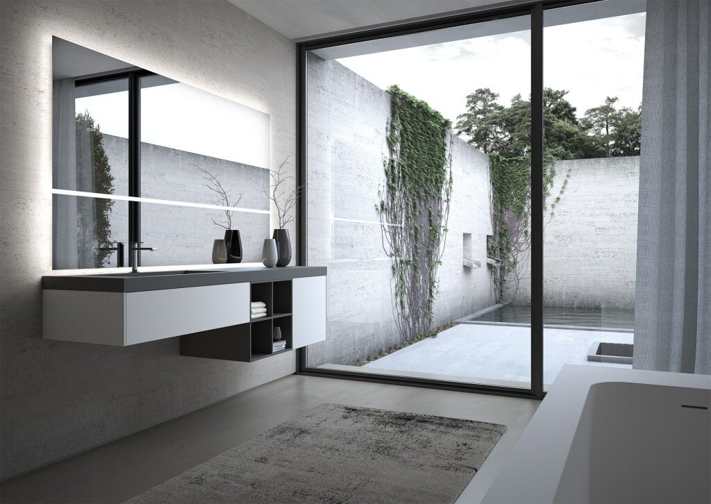 modern bathroom vanity and large mirrors set against the outdoors
