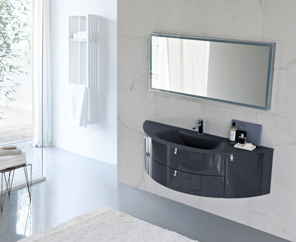 curved floating bathroom vanity with integrated sink