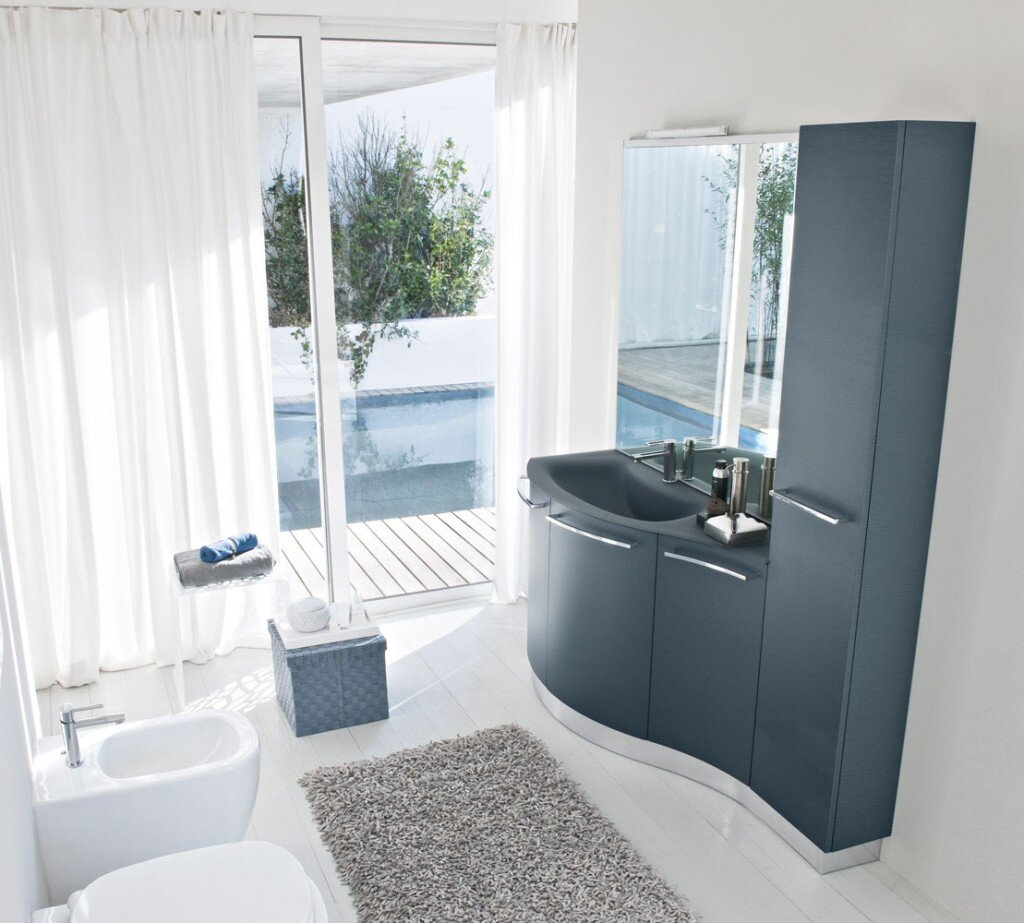 Modern bathroom with natural soft shapes in a steel blue color