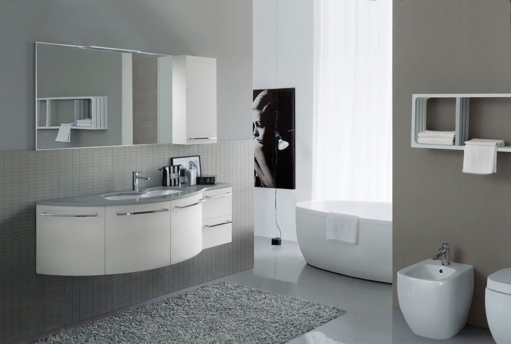 curved, wall-mounted modern bathroom vanity in white with unique tub