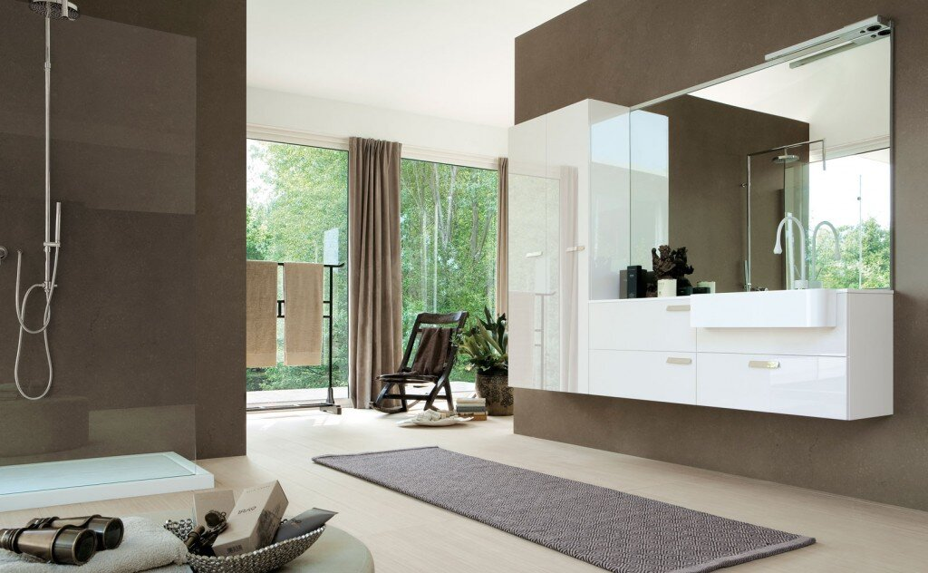 floating bathroom vanity with white drawers and large hanging mirror