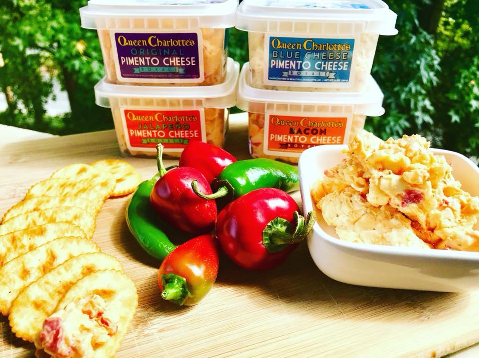 Our original (Pimento Cheese Royale™), jalapeño (Her Royal Hotness™), blue cheese (Black and Bleu Blood™), and bacon (Baconham Palace™) pimento cheeses