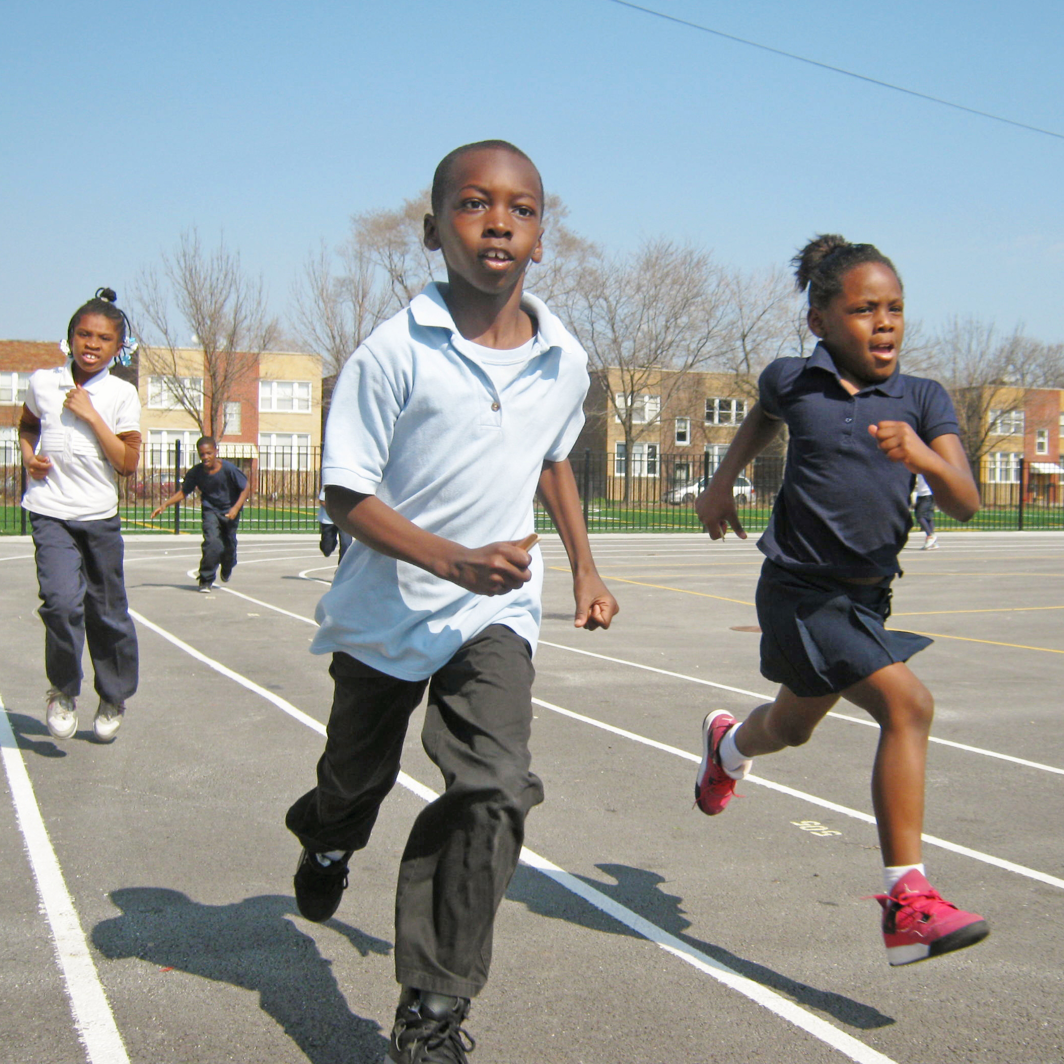Students doing Chicago Run during the school day at May Elementary.JPG