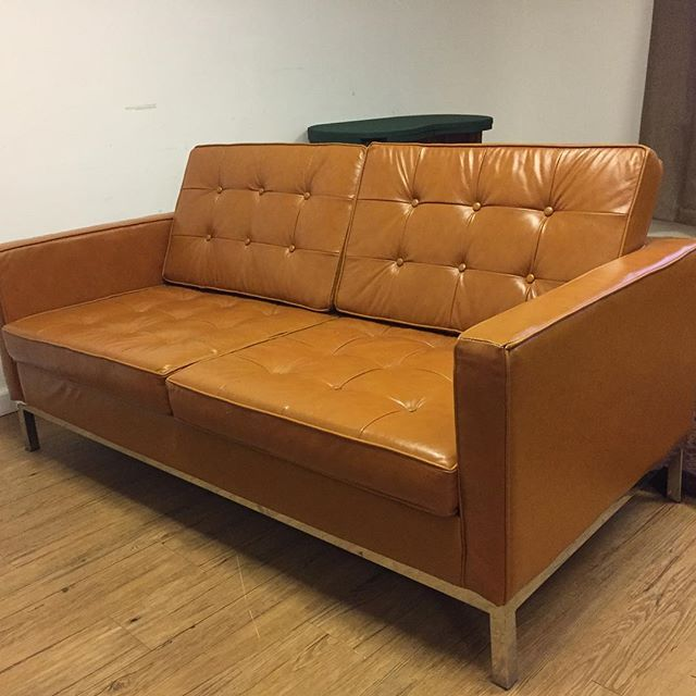Chrome and leather sofa. Possibly Knoll. 64x31x32. (Seat 15) $1650
