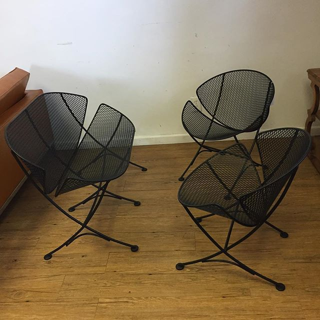 "Amazing Mauricio Tempestini for Salterini rare ""clamshell"" chairs and setee freshly sandblasted and powder coated in matte black. Chairs 23x23x27 Settee 42x23x26 $2900"