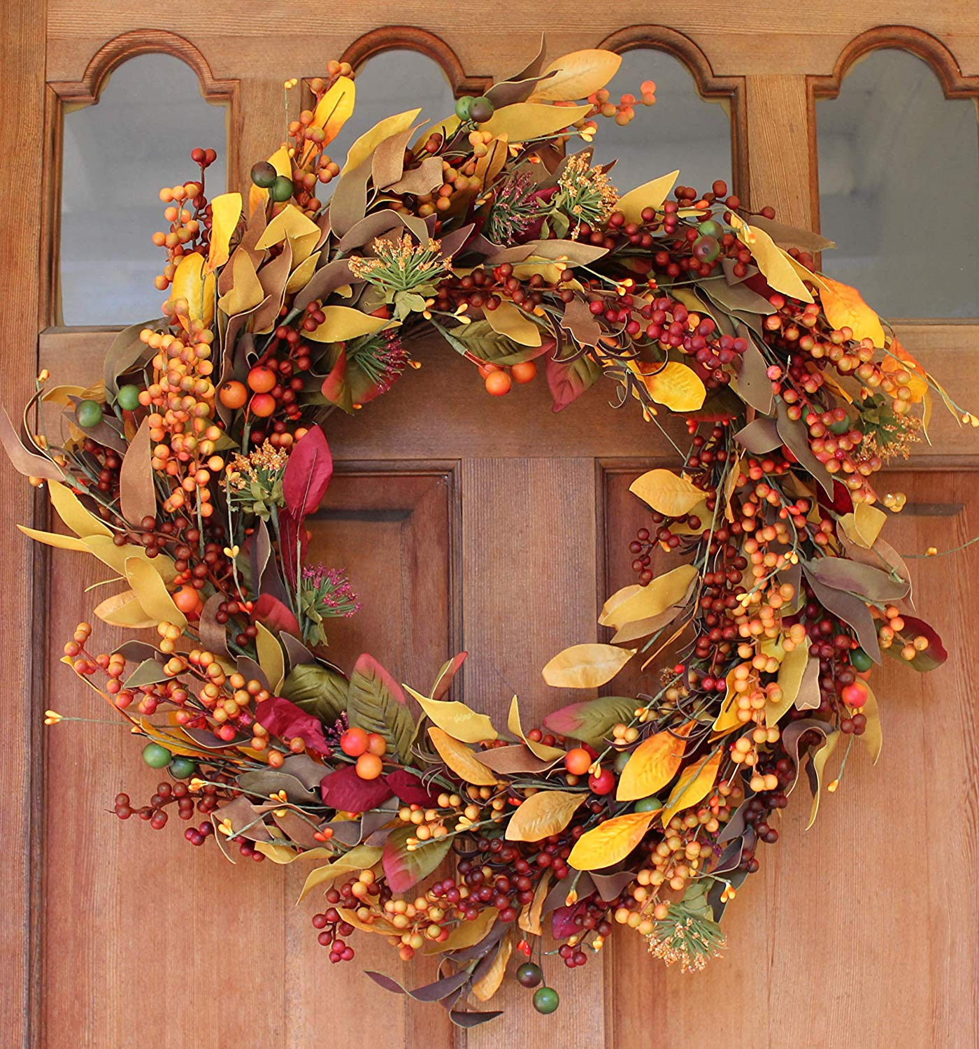 Saranac Berry Fall Front Door Wreath 22 Inches - Lush Seasonal Foliage and Berries, Approved for Covered Outdoor Use, with Beautiful White Gift Box