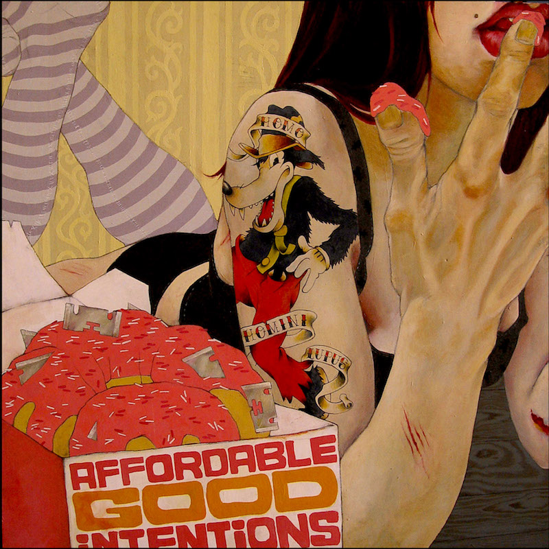 """Affordable Good Intentions"", Acrylic+Oil on wood, 2007"