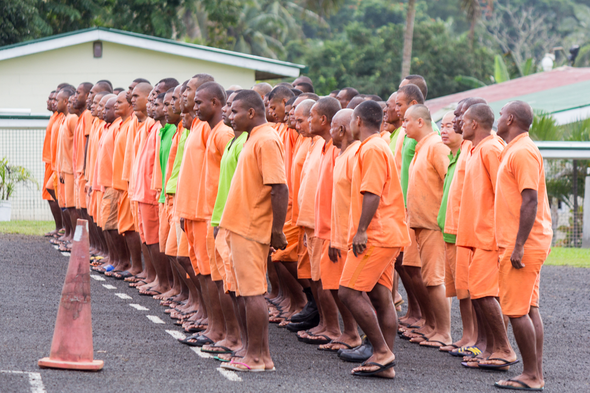 The mission field on morning parade at Nasinu Prison. One of the fifteen prisons in Fiji.