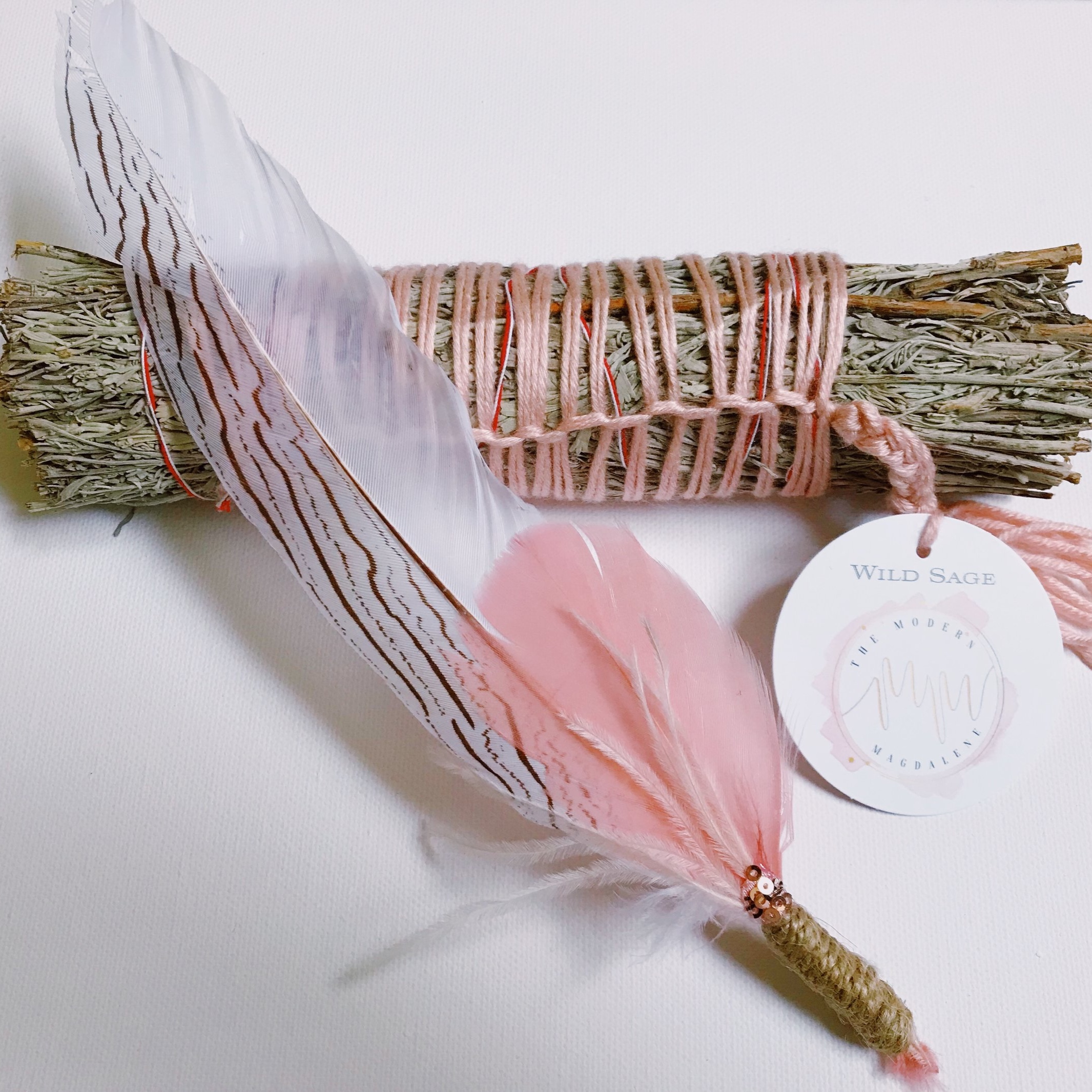 New Moon Feather Wand & Blue Sage Stick