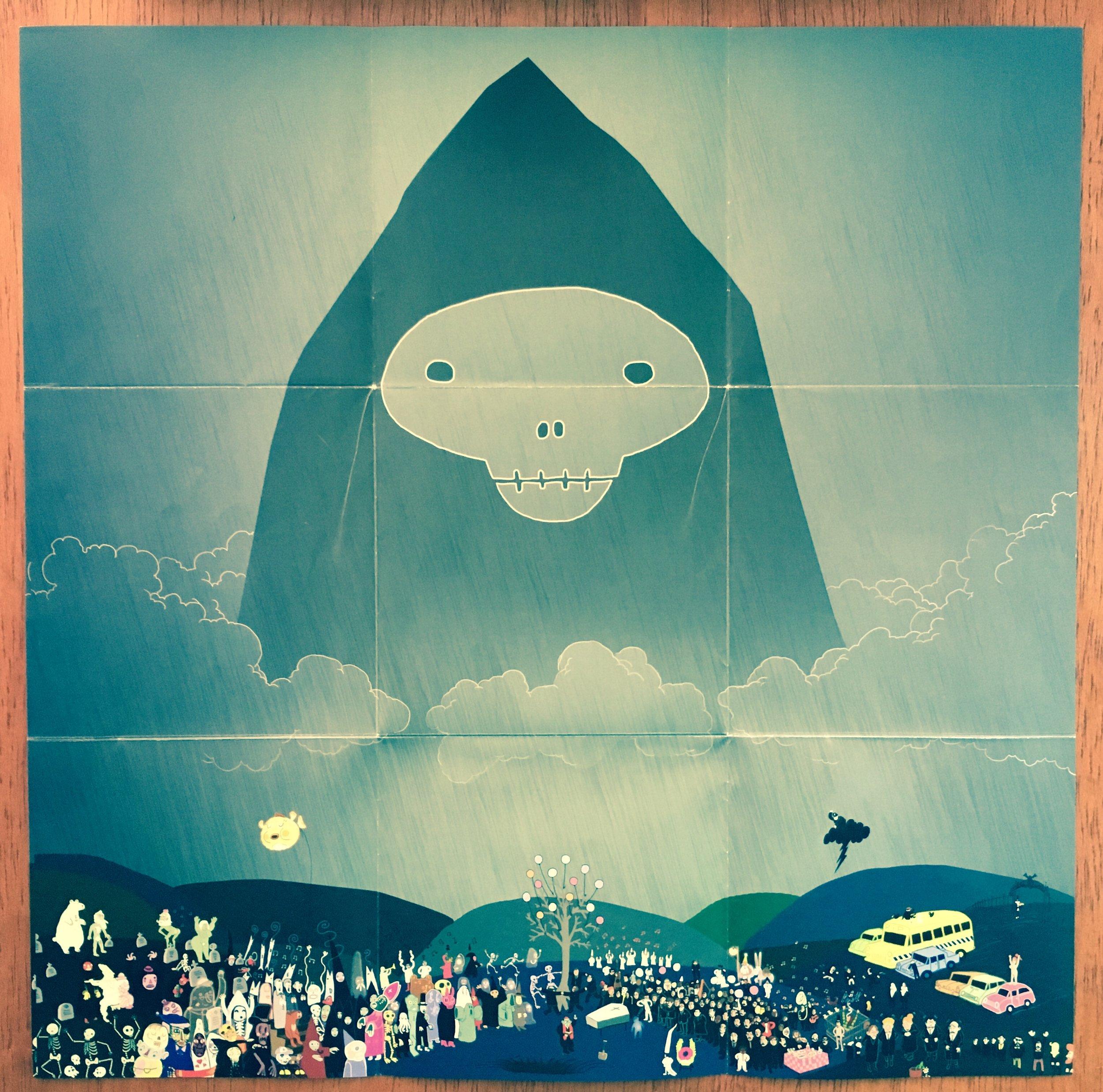 Afiche en el interior del disco (letras de canciones en la parte posterior)