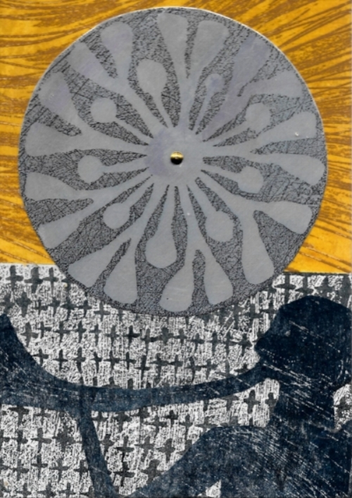 Sun Votive 3  Collagraph & Aluminium Plate by Vale Zakarauskas
