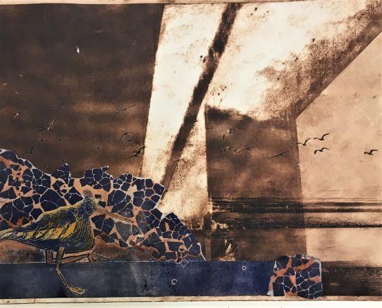 Terek Sandpiper at Stockton Bridge_ Solarplate etching, hand-coloured collograph, collage_Darcy Castaldi_small.jpg