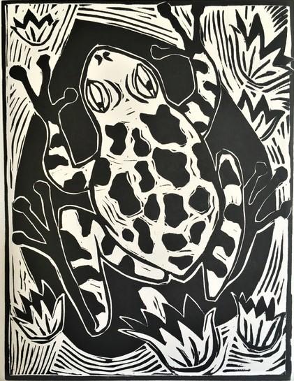 Leaf frog_linoprint_Jim Woodberry.JPG