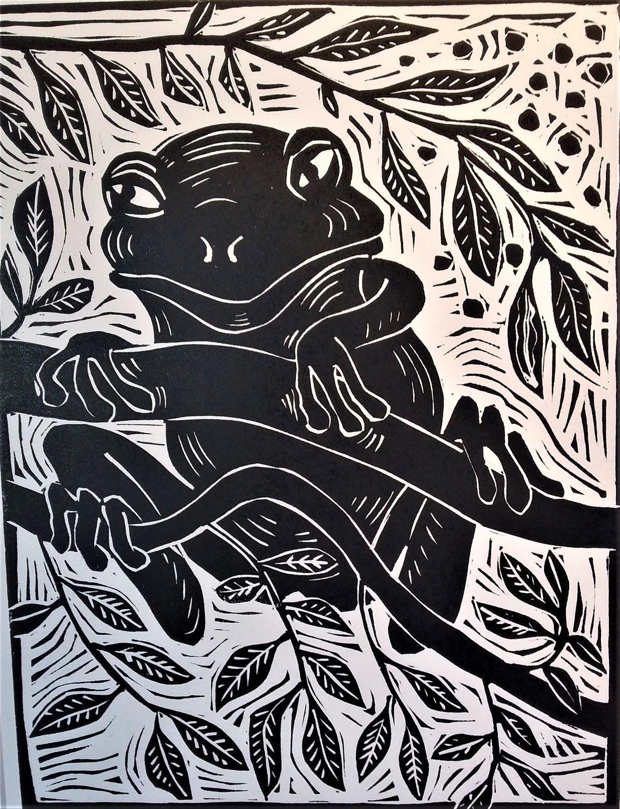 Tree frog_linoprint_Jim Woodbury.jpg