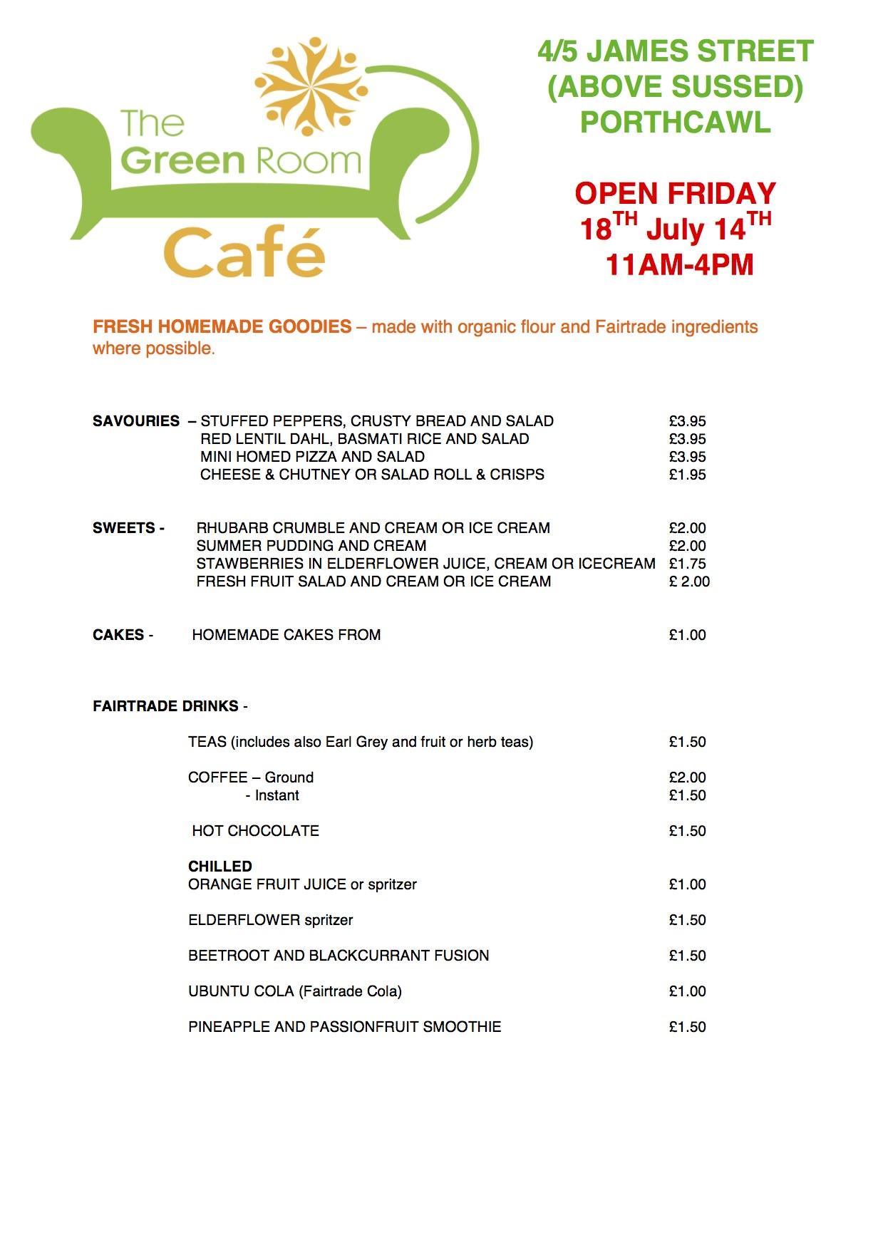 Green Room Café Menu 18 July 2014