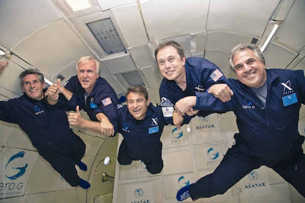 James Cameron, Peter Diamandis, Elon Musk, and others experiencing weightlessness on a Zero G flight.