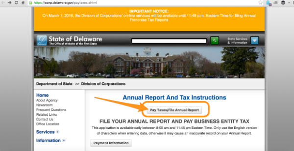 How To Pay Your Annual Delaware Tax For Corporations