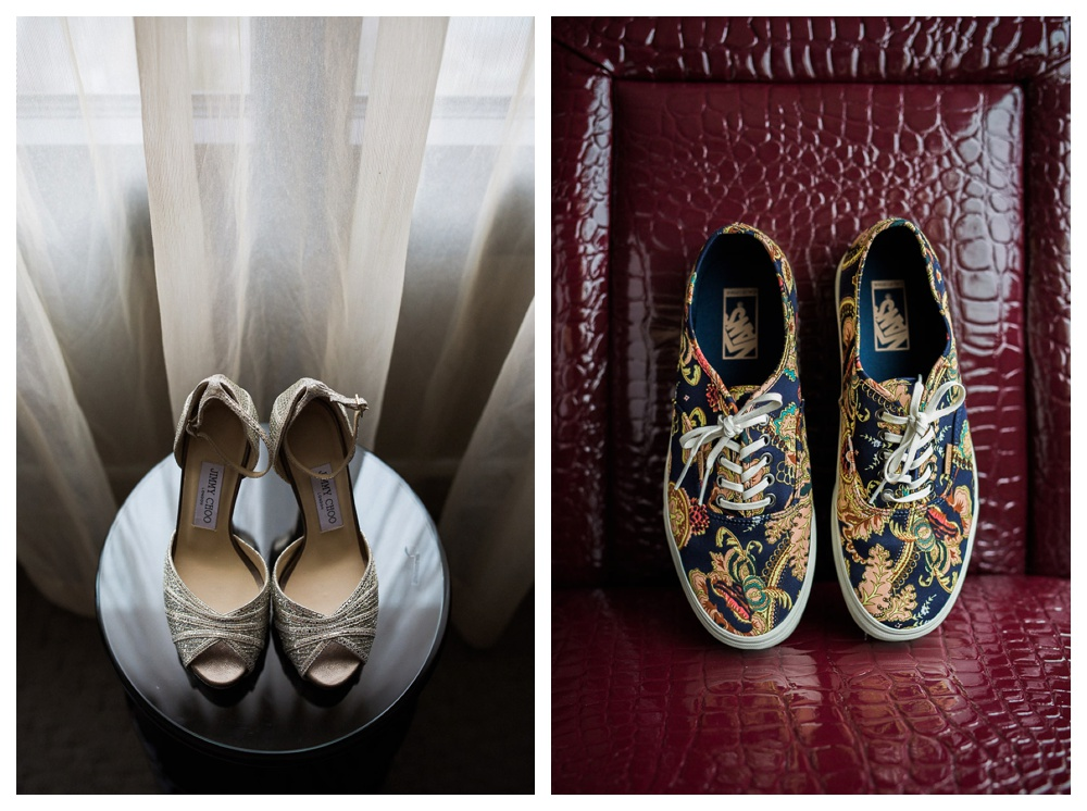 Arcadian Court, wedding, wedding shoes, Jimmy Choo, Vans, sneakers, urban, modern