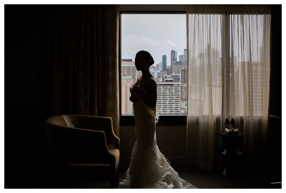 Arcadian Court, wedding, wedding dress, bride, Vera Wang, window, Toronto, soft light, intimate, modern, classic