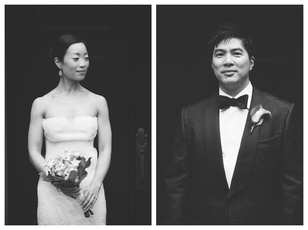 wedding, classic, portrait, black and white, bride, groom, classic, urban, modern, intimate, Arcadian Court, flowers,