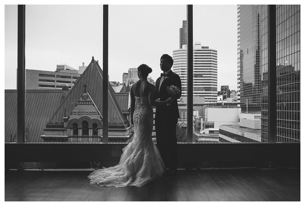 wedding, Arcadian Court, urban, classic, modern, intimate, Toronto, bride, groom, couple, black and white, Vera Wang, wedding dress