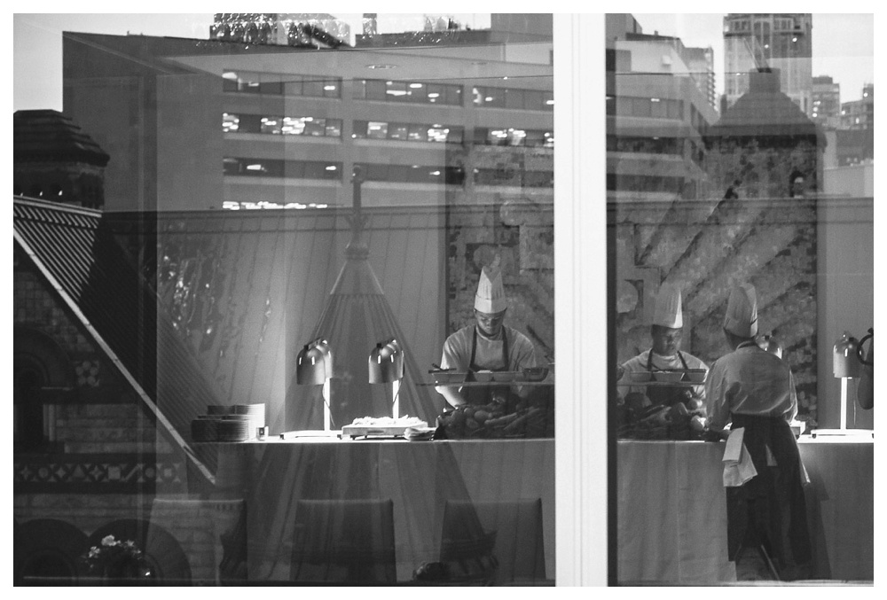 wedding, Arcadian Court, reflection, chef, food, catering, black and white, Toronto, urban, classic, modern, intimate