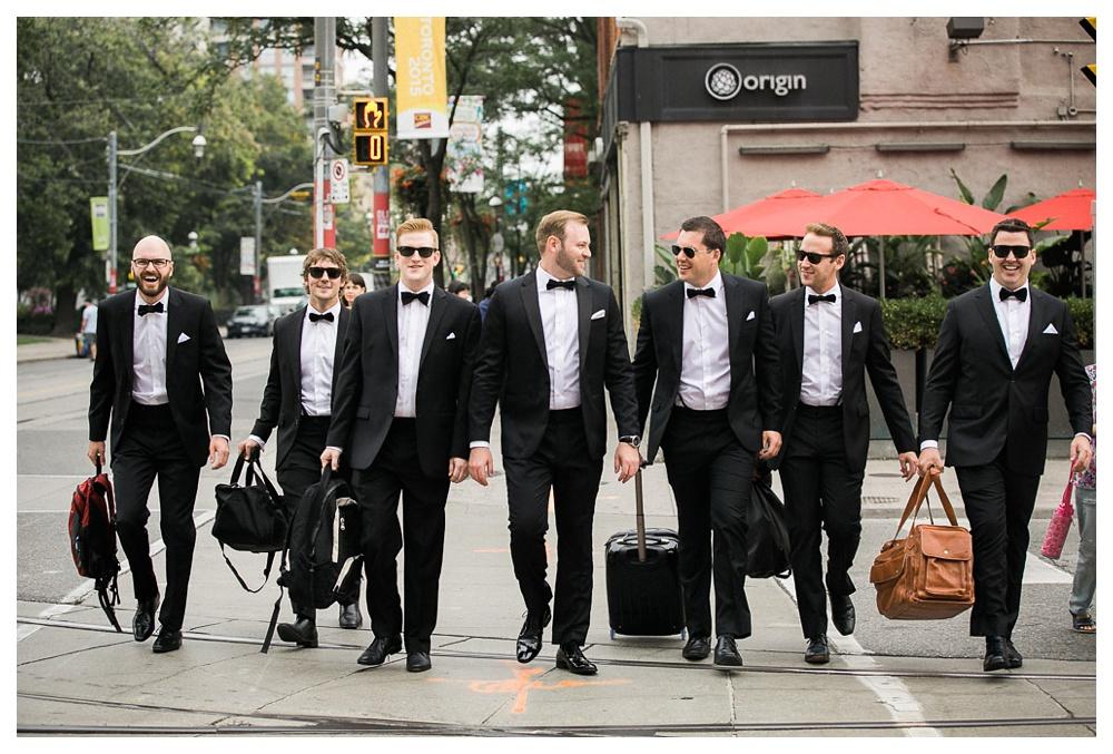 White Toronto, luxe, wedding, Gardiner Museum, 99 Sudbury, Ashley Lindzon, groomsmen, groom, Indochino, Hugo Boss, Toronto, street photography,