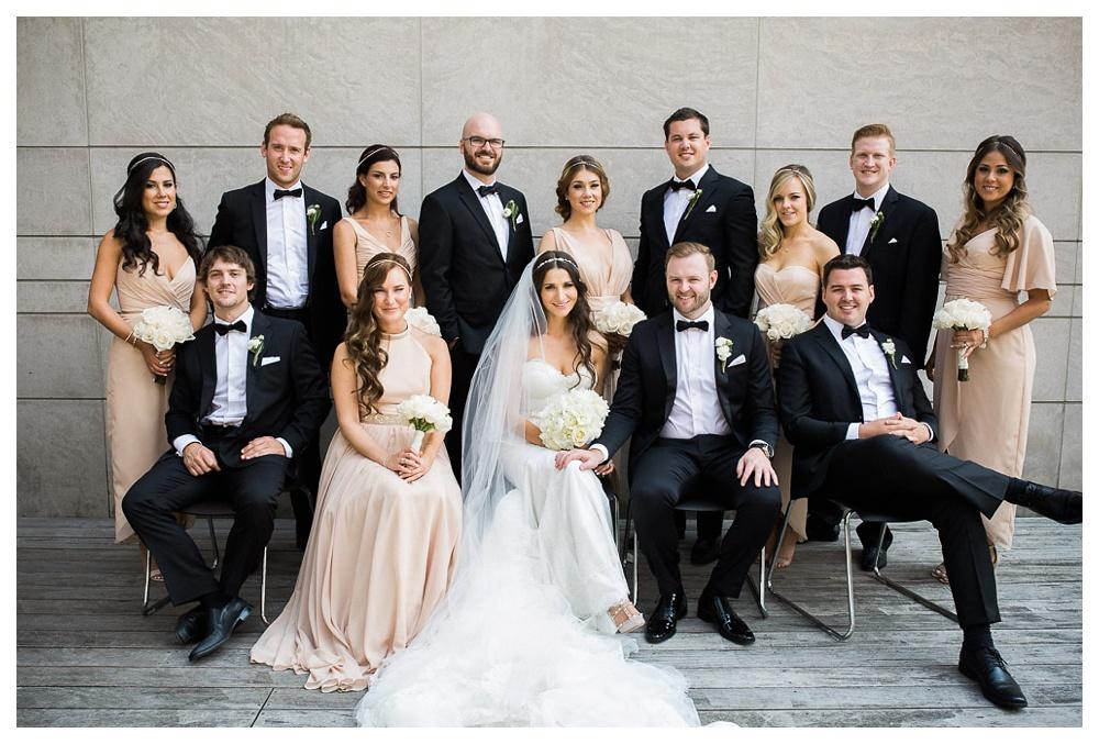 White Toronto, luxe, wedding, wedding dress, Gardiner Museum, 99 Sudbury, Ashley Lindzon, modern, wedding party, bridesmaids, groomsmen, bouquet