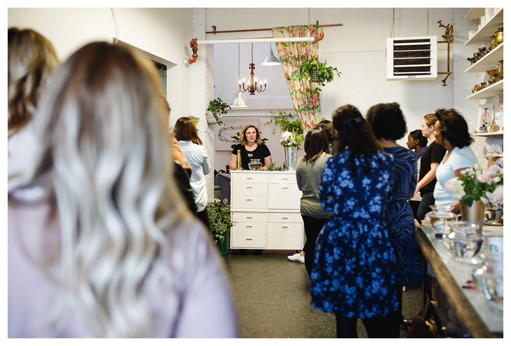 Becky teaching a flower workshop at Blush and Bloom in Toronto.